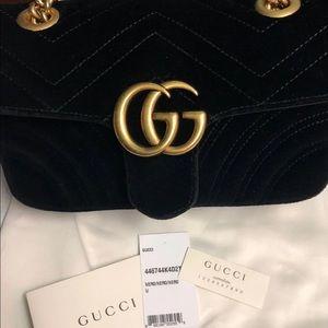 Authentic Gucci Marmont Mini Velvet Crossbody